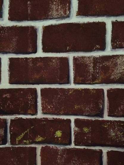 Brick wall with purple shadows